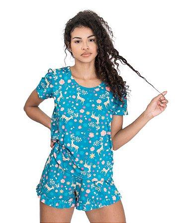 Pijama feminino Basico Estampado Verde Agua
