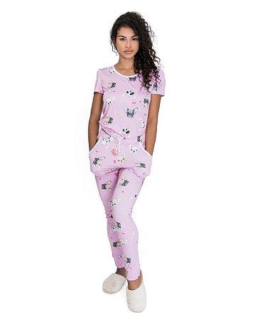 Pijama feminino Preto Manga Curta com Calca Estampado Pug