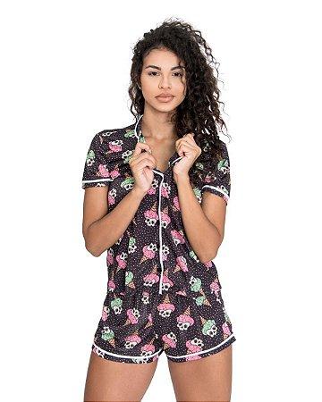 Pijama Americano feminino Camisa com Botoes Sorvete