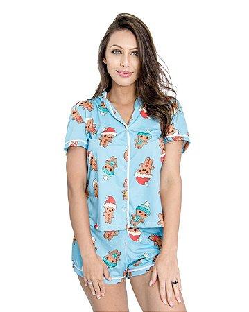Pijama Americano feminino Camisa com Botoes Azul