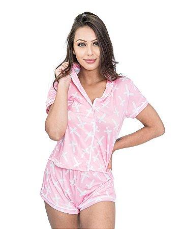 Pijama Americano feminino Camisa com Botoes Rosa