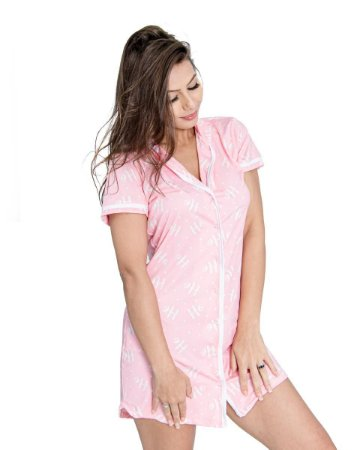 Camisola Americana com Botoes Manga Curta Rosa Estampada