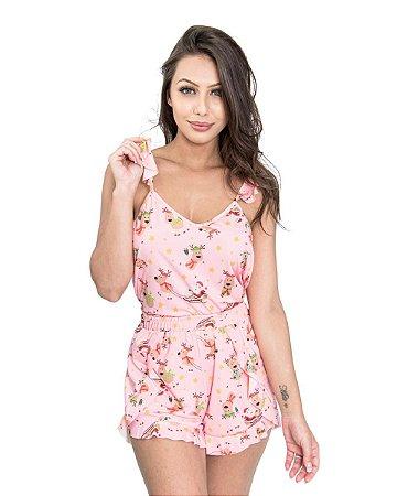 Pijama Short Doll de Alcinha Rosa Estampa Renas