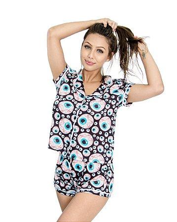 Pijama Americano feminino Camisa com Botoes Eyes