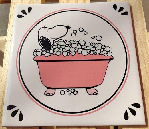 Azulejo 15 x 15 - Snoopy na banheira rosa