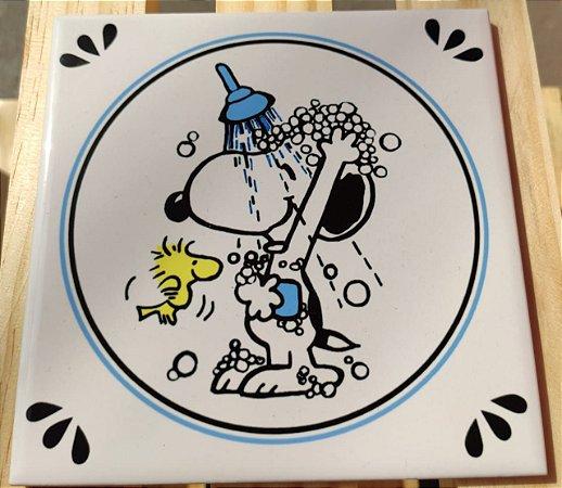 Azulejo 15 x 15 - Snoopy chuveiro azul