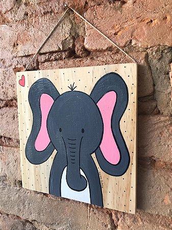 Placa de Madeira - elefantinho