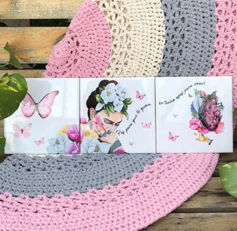 Azulejo Trio da Frida (borboleta e coração)