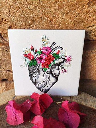Azulejo 10 x 10 coração florido