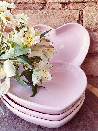 Prato Sobremesa Coração ( Rosa )