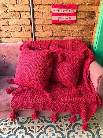 Manta Tricô - Vermelho