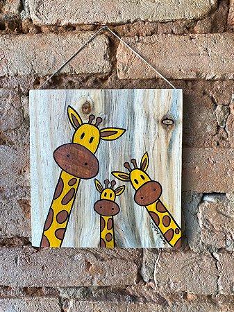 Placa de Madeira Girafinhas
