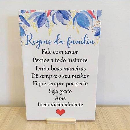 """Azulejo 20 x 30 - """"Regras da família"""""""