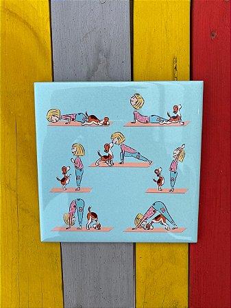 Azulejo 15 x 15 - Yôga Dog