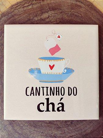 """Azulejo  15 x 15 - """"Cantinho do Chá"""" fundo liso"""