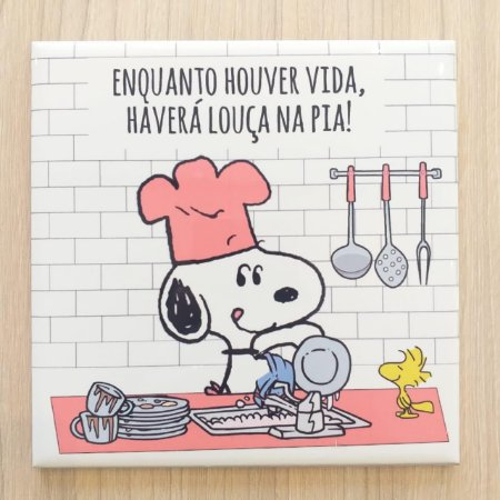 "Azulejo 15 x 15 - Snoopy ""Louça na pia"" rosa"
