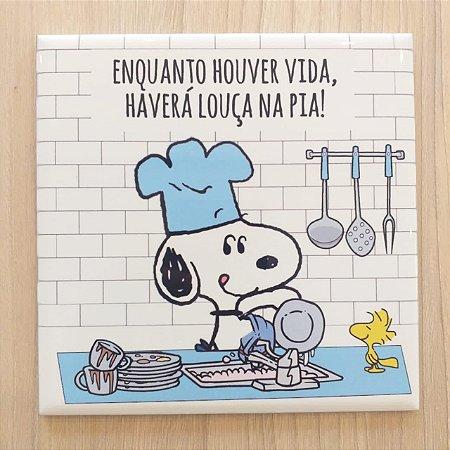"""Azulejo 15 x 15 - Snoopy """"Louça na pia"""" azul"""