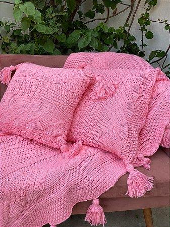 Manta Tricô Amor - Coleção Casa Ser rosa