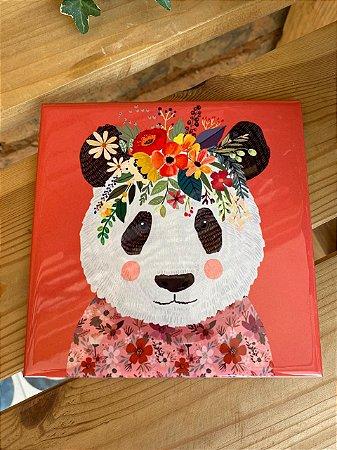 Azulejo 15 x 15 - Panda com floral na cabeça