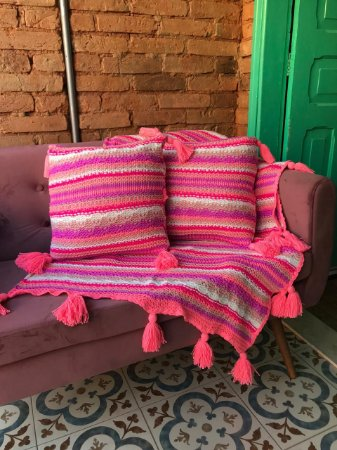 Manta Tricô - Pink listras