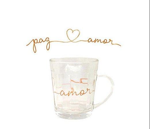 Caneca de vidro 270ml - paz e amor