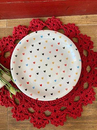 Prato sobremesa louça - corações coloridos