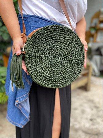 Bolsa de Crochê com Fio Náutico Verde Militar