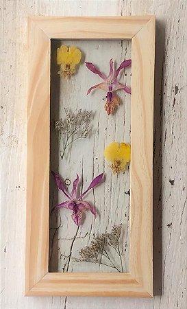 Quadro de Flores Naturais - orquídea roxa e amarela