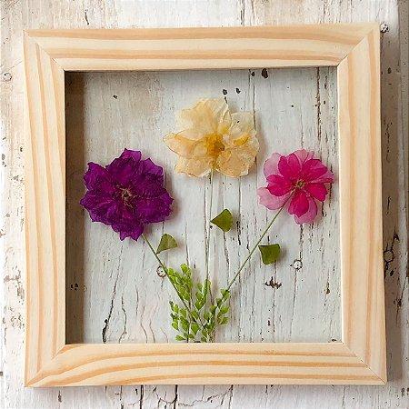 Quadro de Flores Naturais - 3 flores