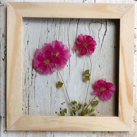 Quadro de Flores Naturais - ramo com 4 flores Pink