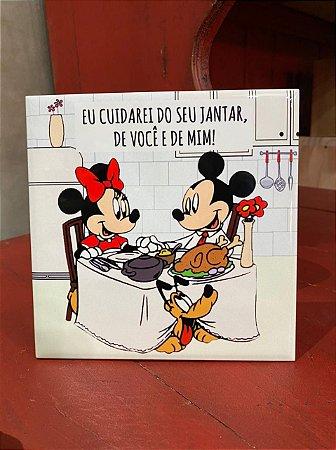 Azulejo Minnie e Mickey EU CUIDAREI DO SEU JANTAR
