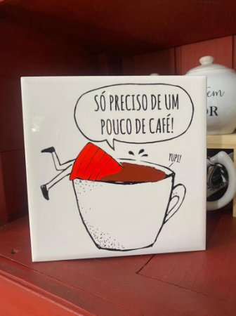 azulejo 15x15 Menina dentro da xícara de café