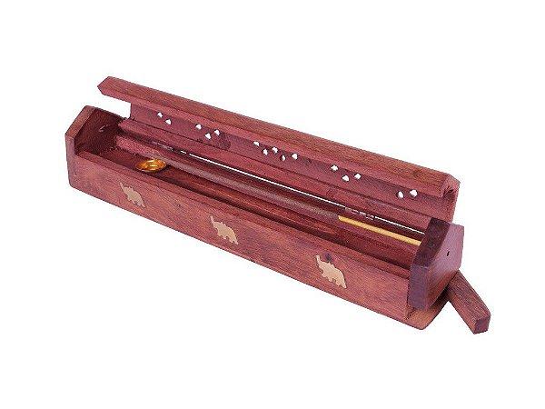 Incensário Box de madeira  vermelha com porta incenso 30cm. Artesanato Indiano com detalhes de elefante em metal.