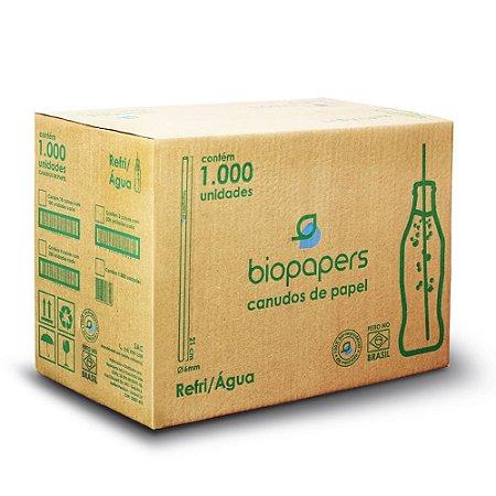 Canudo de Papel Biopapers (6mmx21cm) Branco Caixa com 1000.0 Unidades