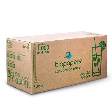 Canudo de Papel Biopapers (8mmx21cm) Branco Caixa com 1000.0 Unidades