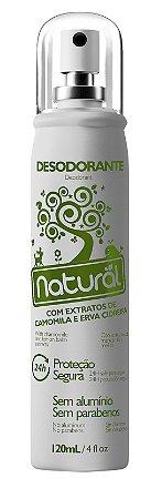 Desodorante Natural Spray  com Extrato de Camomila e  Erva Cidreira.  Vegano, Sem Alumínio e Sem Parabeno.