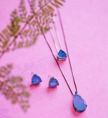 Conjunto ródio branco e colar ródio negro de gota - Turmalina azul
