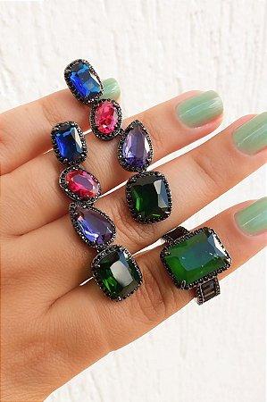 Brinco pedras coloridas