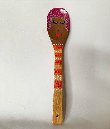 Colher de pau decorativa pink hair