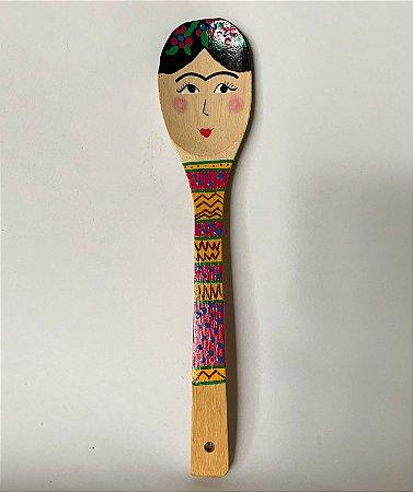 Colher de pau decorativa Frida