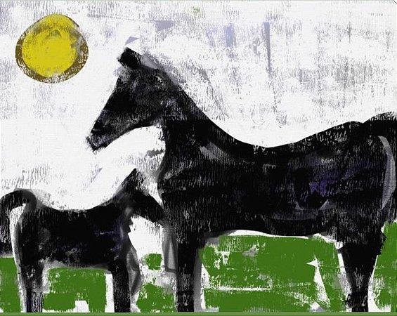 Cavalos em Fundo Verde