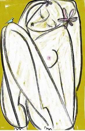 Menina em Fundo Amarelo