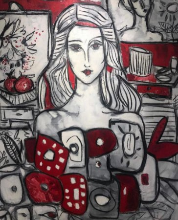Mulher e Flores em Vermelho