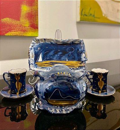 Conjunto de Porcelana azul marinho