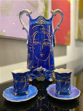 Conjunto de Porcelana azul cobalto