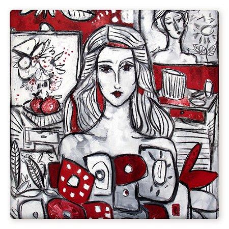 Mulher e flores em fundo vermelho