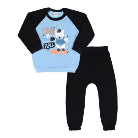Conjunto Bebê Masculino Moletom Blusa Azul Ursinho Baseball e Calça Preta (1/2/3) - Lanazu