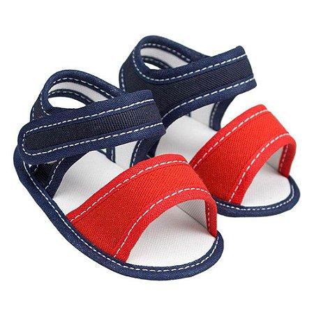 Sandália Basic Azul Marinho com Vermelho (P/M/G/GG) - Baby Soffete