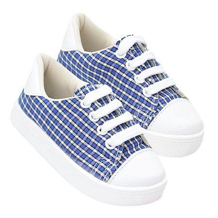 Tênis Infantil Masculino Xadrez Azul e Branco com Cadarço (20 ao 27) - Sonho de Criança