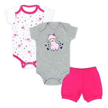 Kit Bebê Feminino 3 Peças Body e Shorts Mescla e Pink Lhama (RN/P/M/G/GG) - Kappes